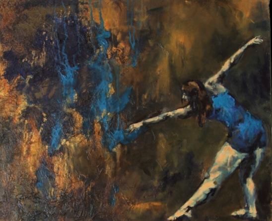 Dancer in Blue | mixed media | 36 x 30 | $1300