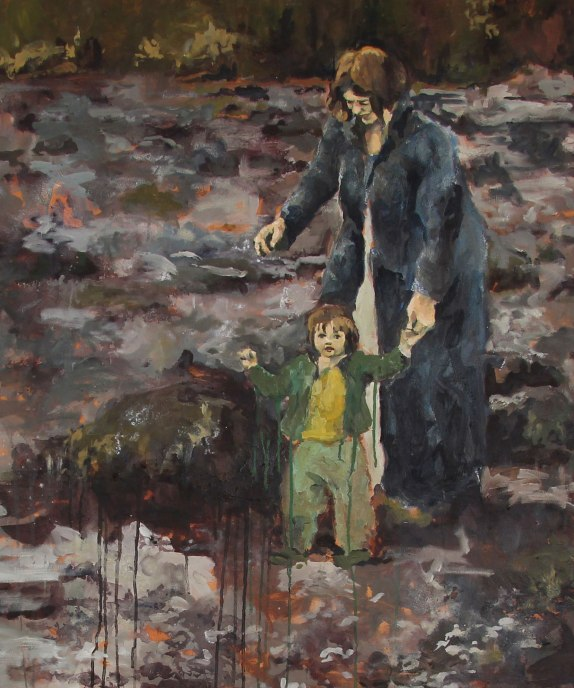 A painting of a mother holding her child's hand, walking along a rocky shoreline
