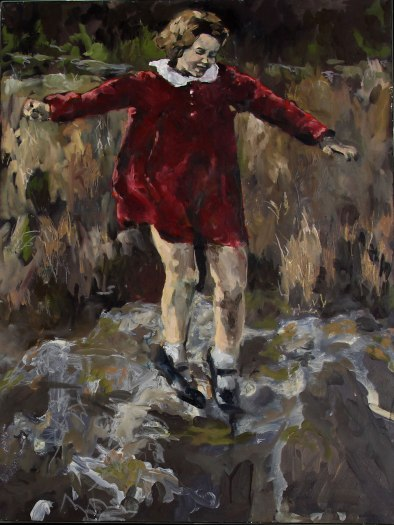 A painting of a child in a red dress, jumping on a rock