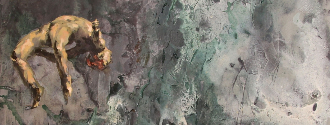 An expressively painted figure in an ascending pose