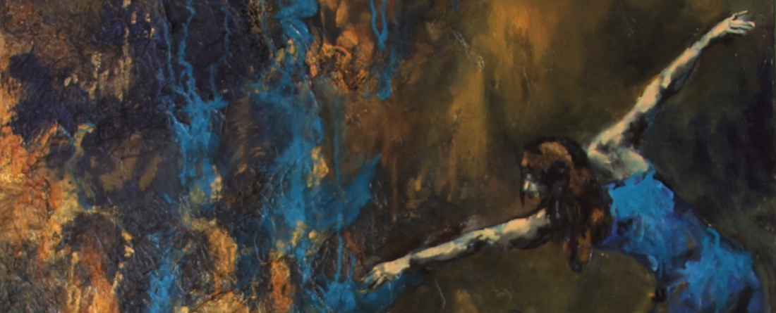 An expressive painting of a dancer n an abstract ground